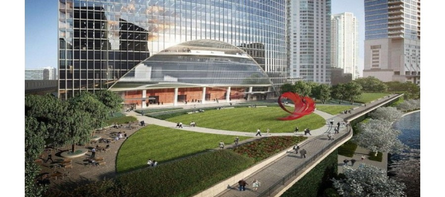 Mayor of Chicago announces the team to create the unique and vibrant sculpture to be installed in the park at River Point.